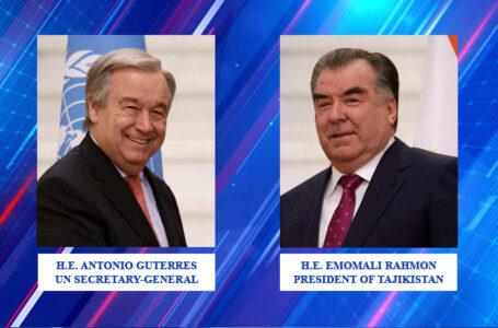 President Emomali Rahmon Holds Phone Talk with UN Secretary-General Guterres